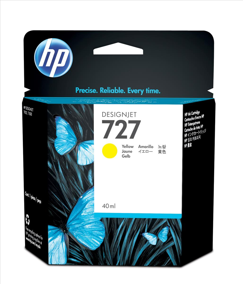 HP 727 40-Ml Yellow Ink Cartridge B3P15A