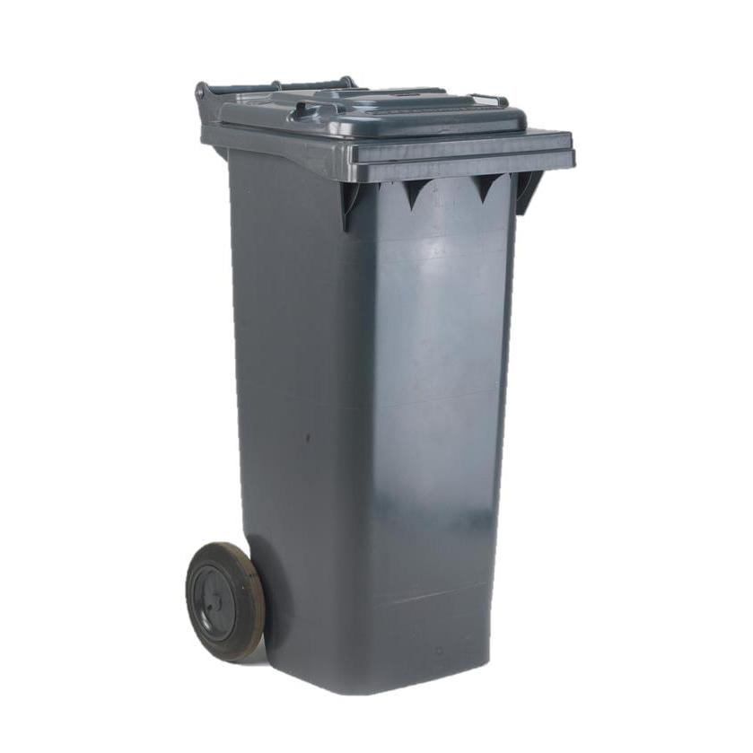 Wheelie Bin High Density Polyethylene with Rear Wheels 80 Litre Capacity 445x525x930mm Grey