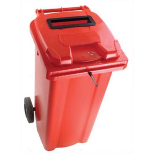 Wheelie Bin Slot and Lid Lock UV Stabilised Polyethylene 240 Litres Red