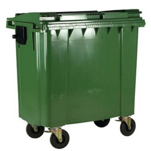 Four Wheeled Bin UV Stabilised Polyethylene 1100 Litres 67kg W1400xD1200xH1450 Green