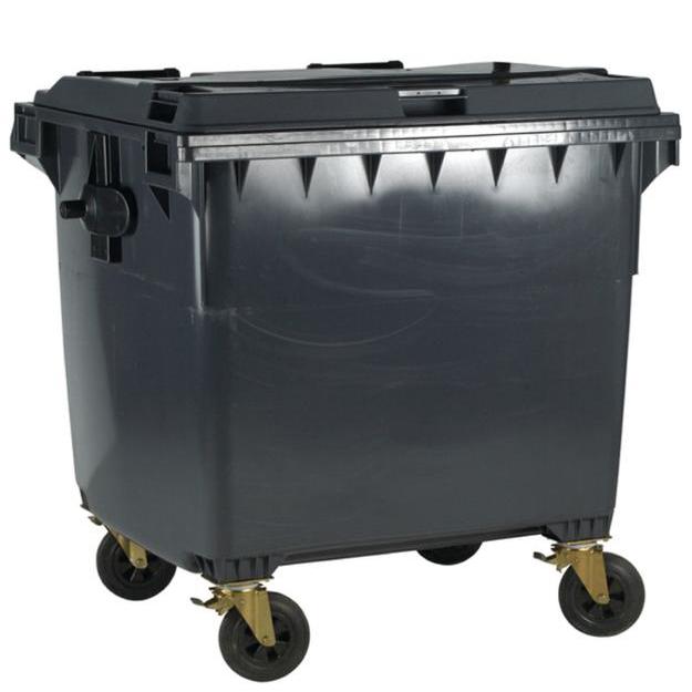 Four Wheeled Bin UV Stabilised Polyethylene 1100 Litres 67kg 1400x1200x1450mm Grey