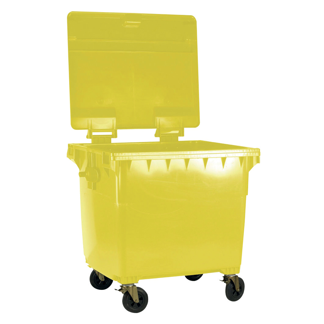 Four Wheeled Bin UV Stabilised Polyethylene 1100 Litres 67kg 1400x1200x1450mm Yellow