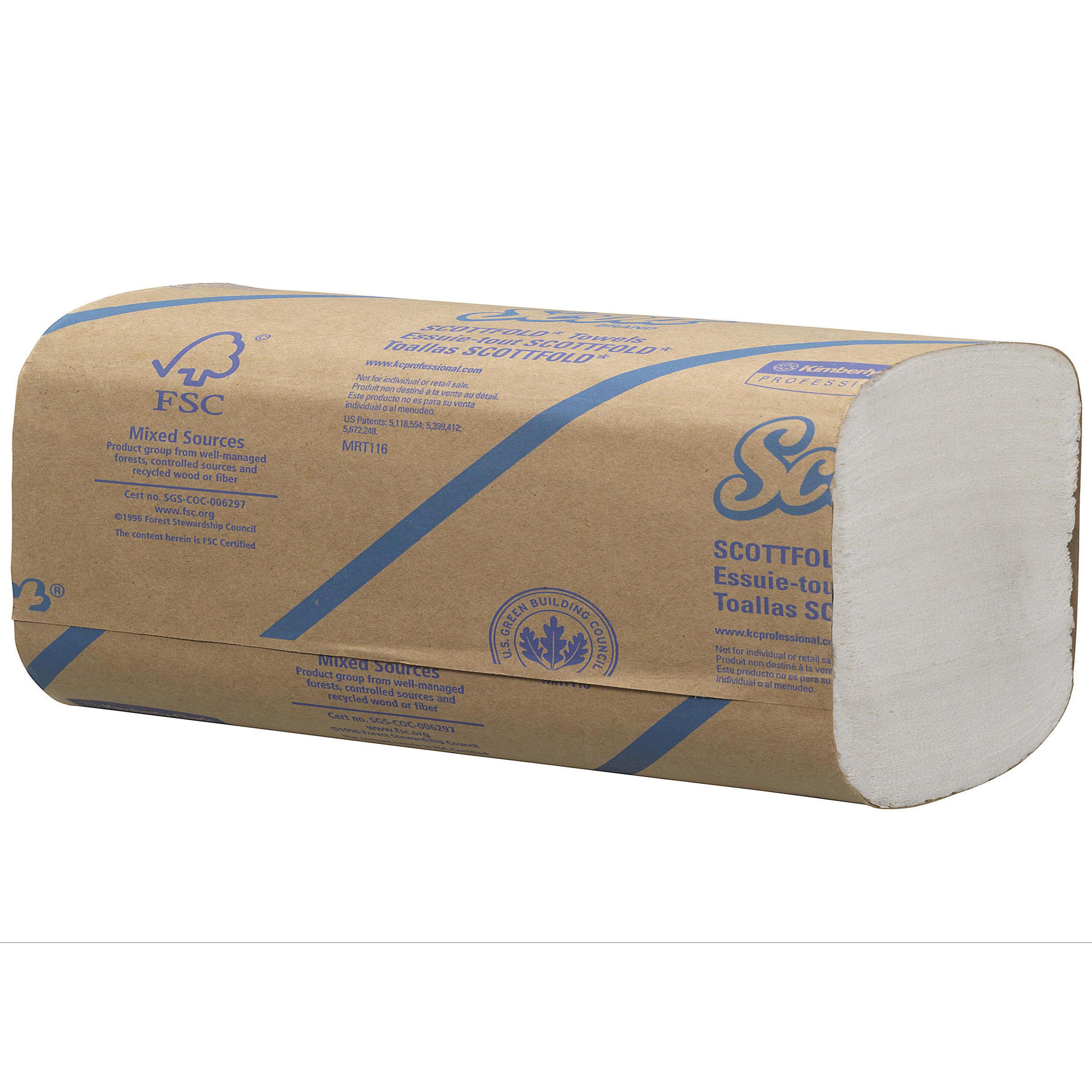 Scott Scottfold Hand Towels White 1 Ply 315x200mm 175 Towels per Sleeve Ref 6633 [Pack 25 Sleeves]