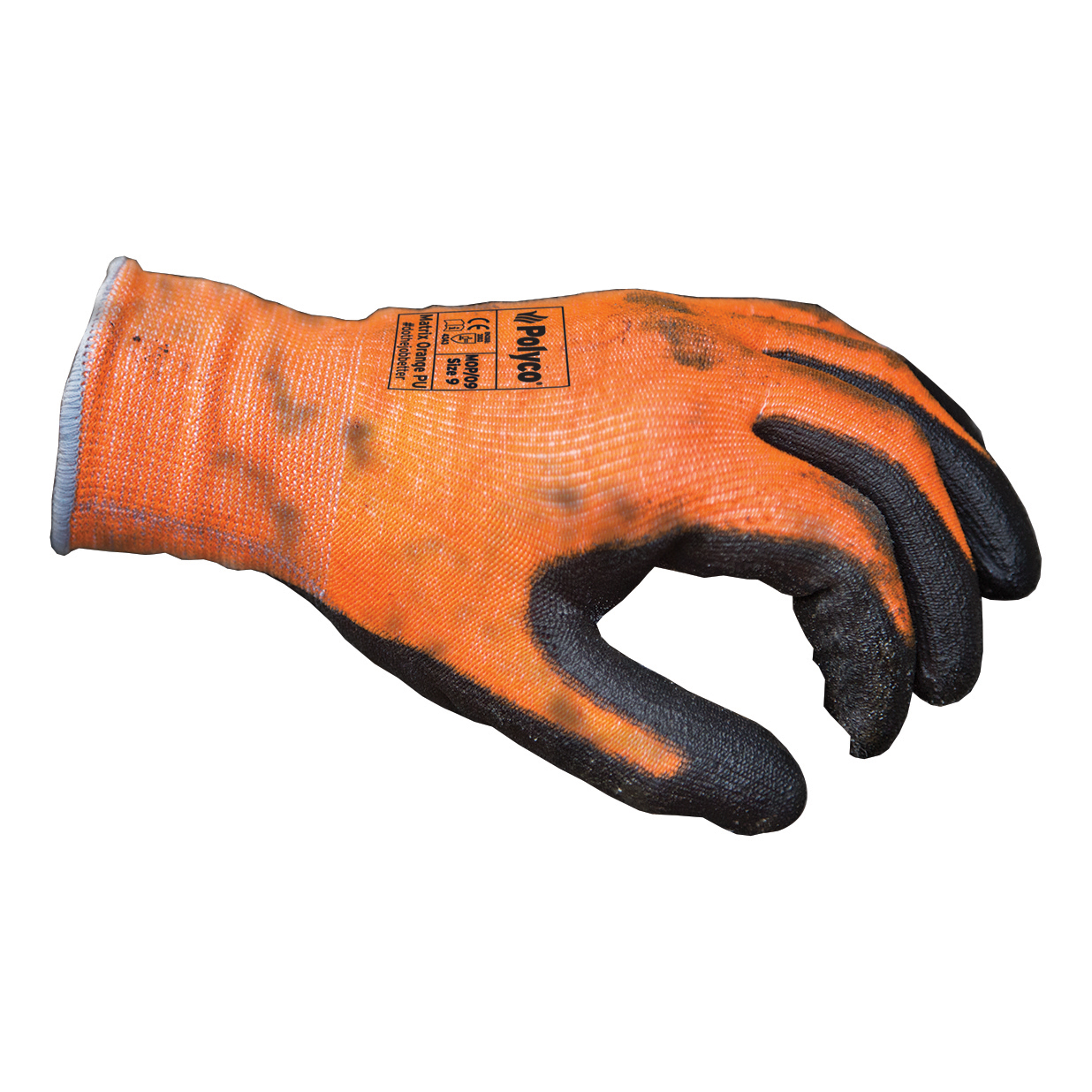 Polyco Safety Gloves PU Coated Size 8 Orange/Black [Pair] Ref MOP/08