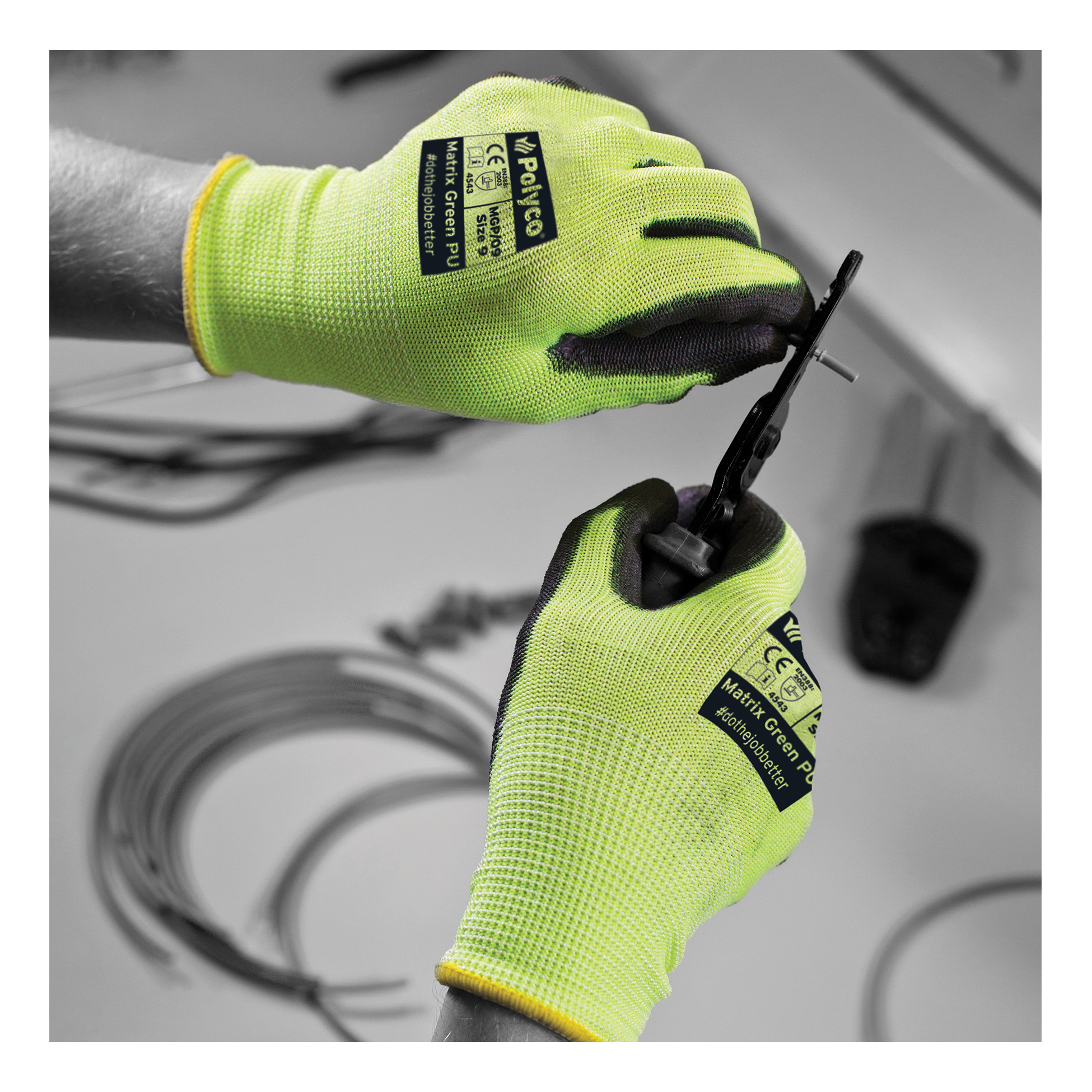 Polyco Safety Gloves PU Coated Size 9 Green/Black [Pair] Ref MGP/09