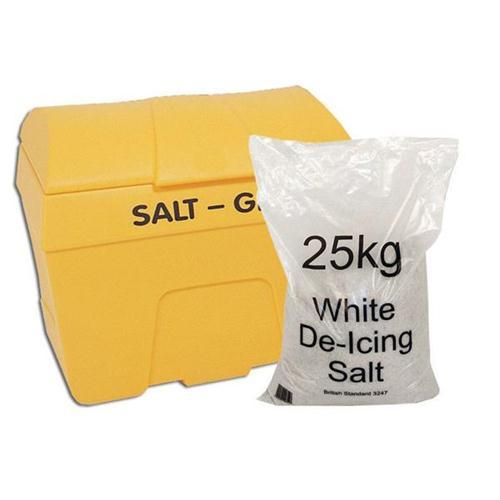 Winter Kit Salt Bin Yellow 200 Litre with Salt Bag White 8 x 25kg