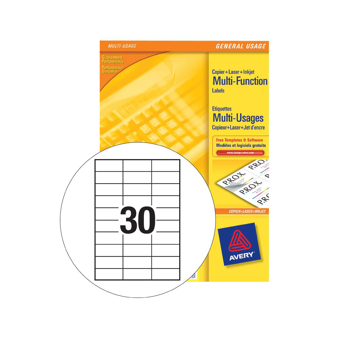 avery multipurpose labels laser copier inkjet 30 per sheet 70x29 7mm