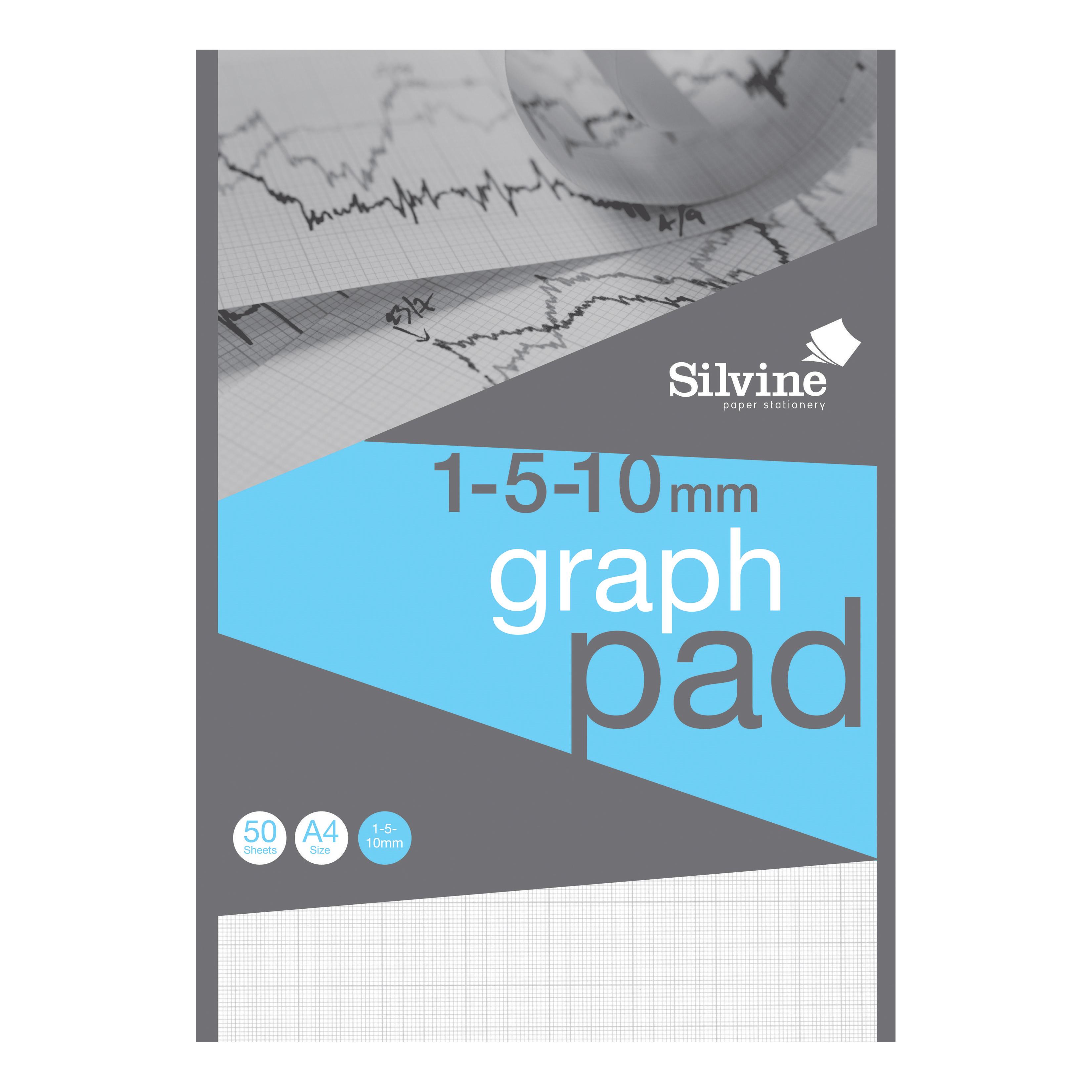 Silvine A4 Graph Pad 1/5/10mm 90gsm