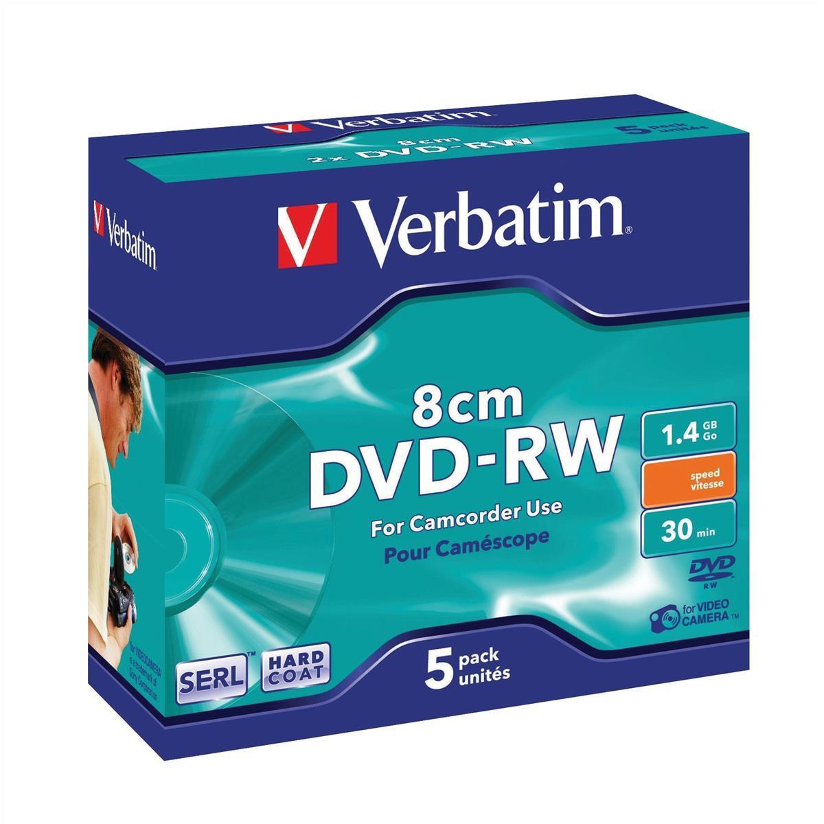 Verbatim 8cm DVD-RW Slim Case 5pk 43514