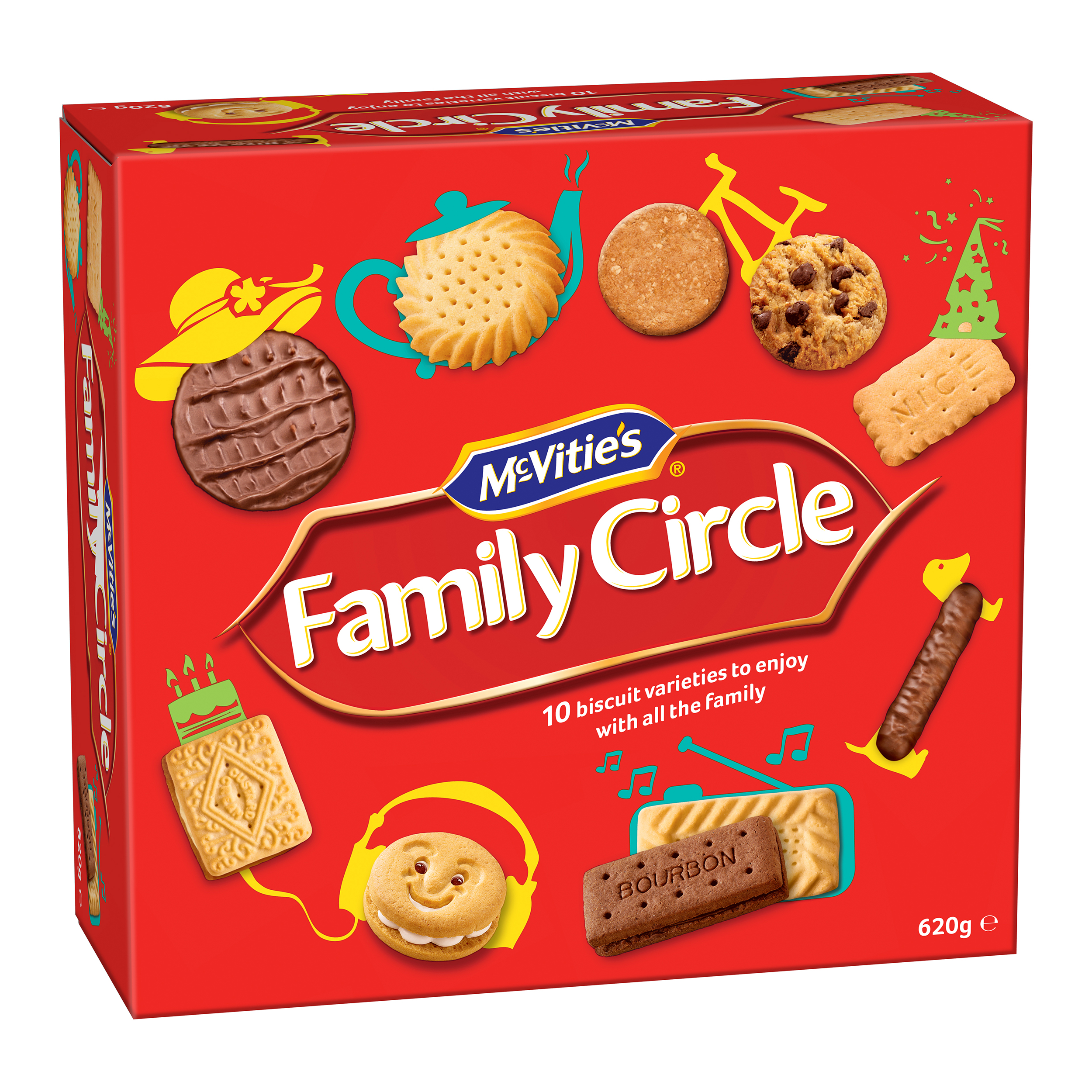 Crawfords Family Circle Biscuits Re-sealable Box 10 Varieties 670g Assorted Ref 0401018