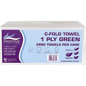Pristine Hand Towels C-fold Single Ply 240 Sheets Green Pack 12
