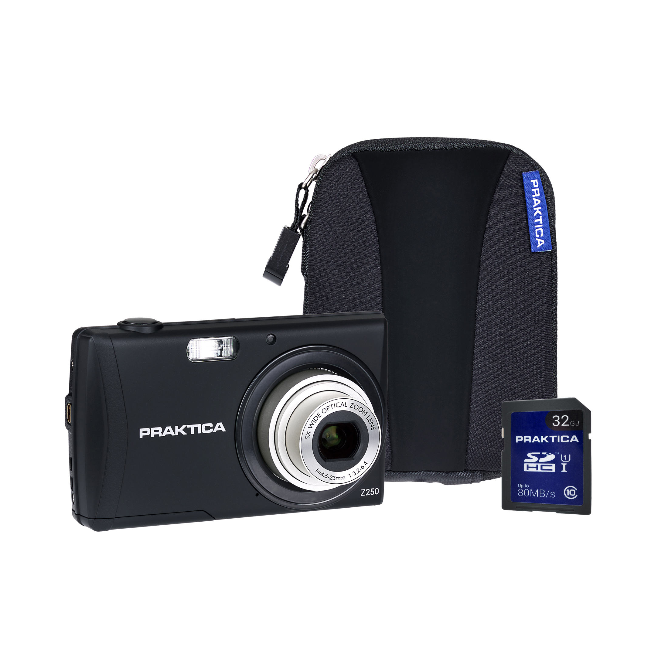 Image for Praktica Z250 Digital Camera Kit 20MP HD Video 5x Optical Zoom Case and 8GB SD card Black Ref PRA111