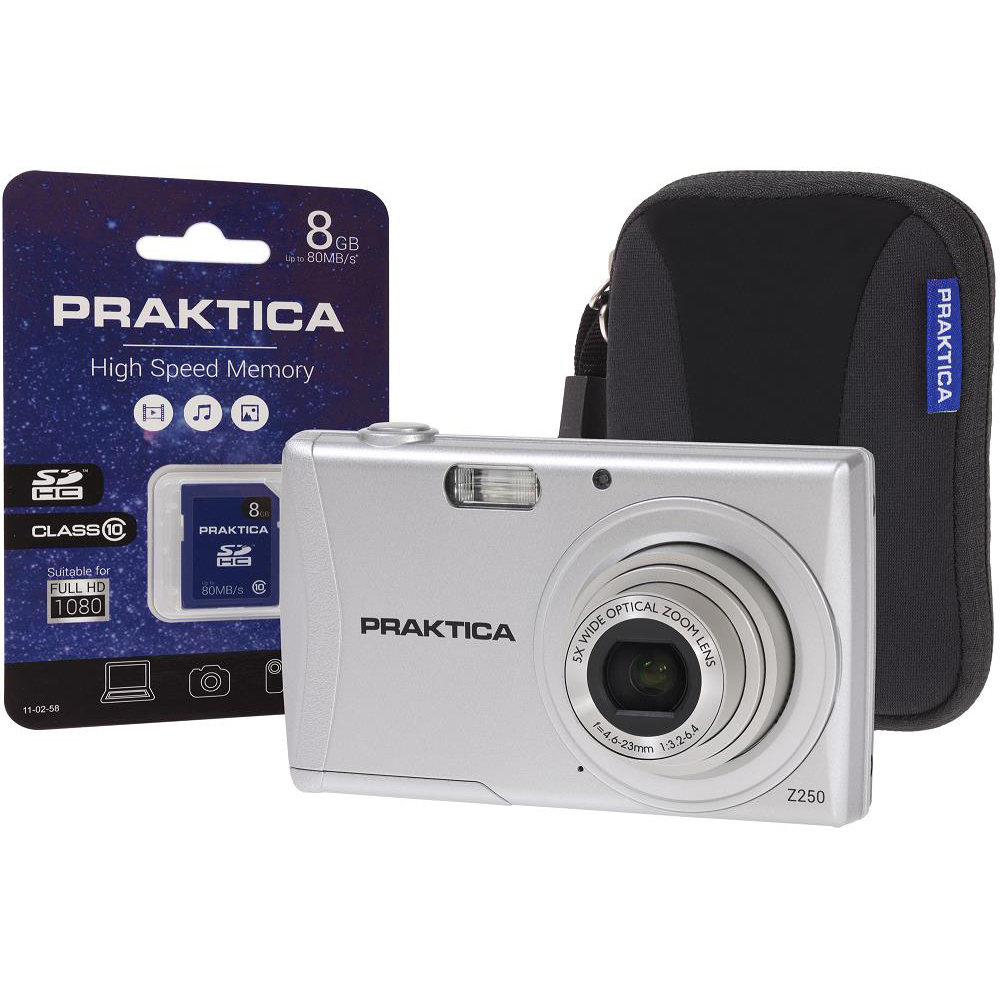 Image for Praktica Z250 Digital Camera Kit 20MP HD Video 5x Optical Zoom Case and 8GB SD card Silver Ref PRA111