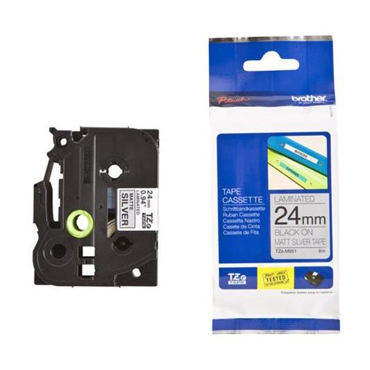 Image for )Brother Met Tape 24mm BlkOnSlvr TZEM951