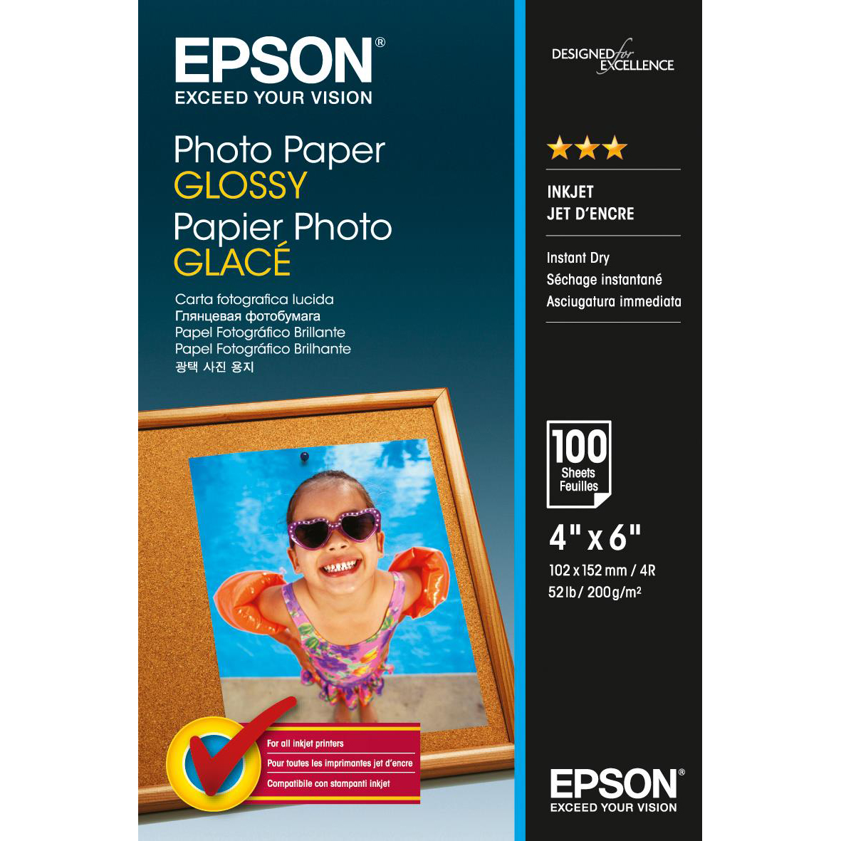 Epson Photo Paper Glossy 200gsm 100x150mm Ref C13S042548 [100 Sheets] 3to5 Day Leadtime