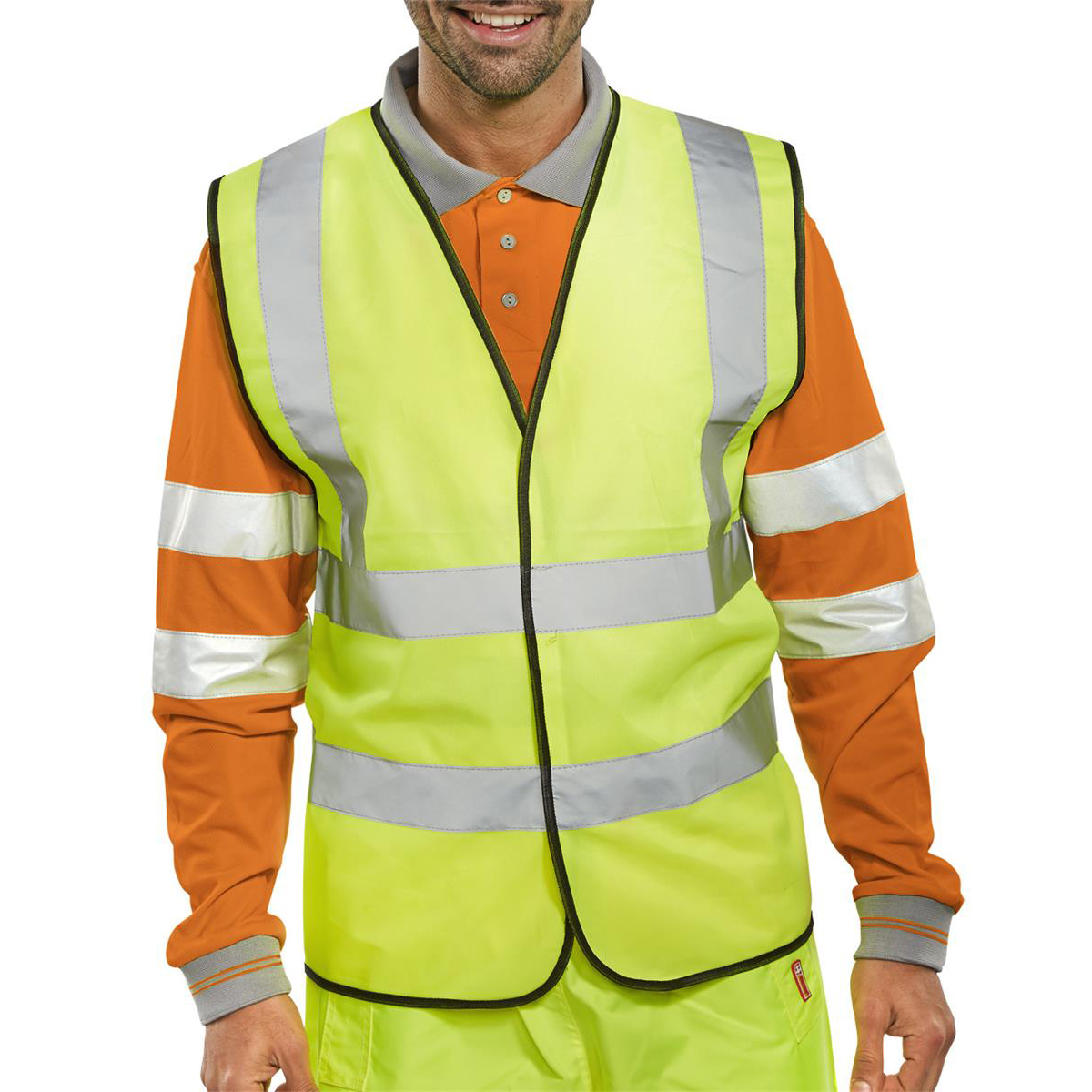 High Visibility Vest Polyester Yellow With Black Piping Extra Large Approx 2/3 Day Lead Time