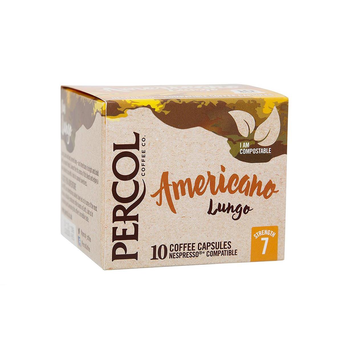 Percol Americano Lungo Nespresso Compatible Capsules Coffee Strength 7 Ref A07980 [Pack 10]