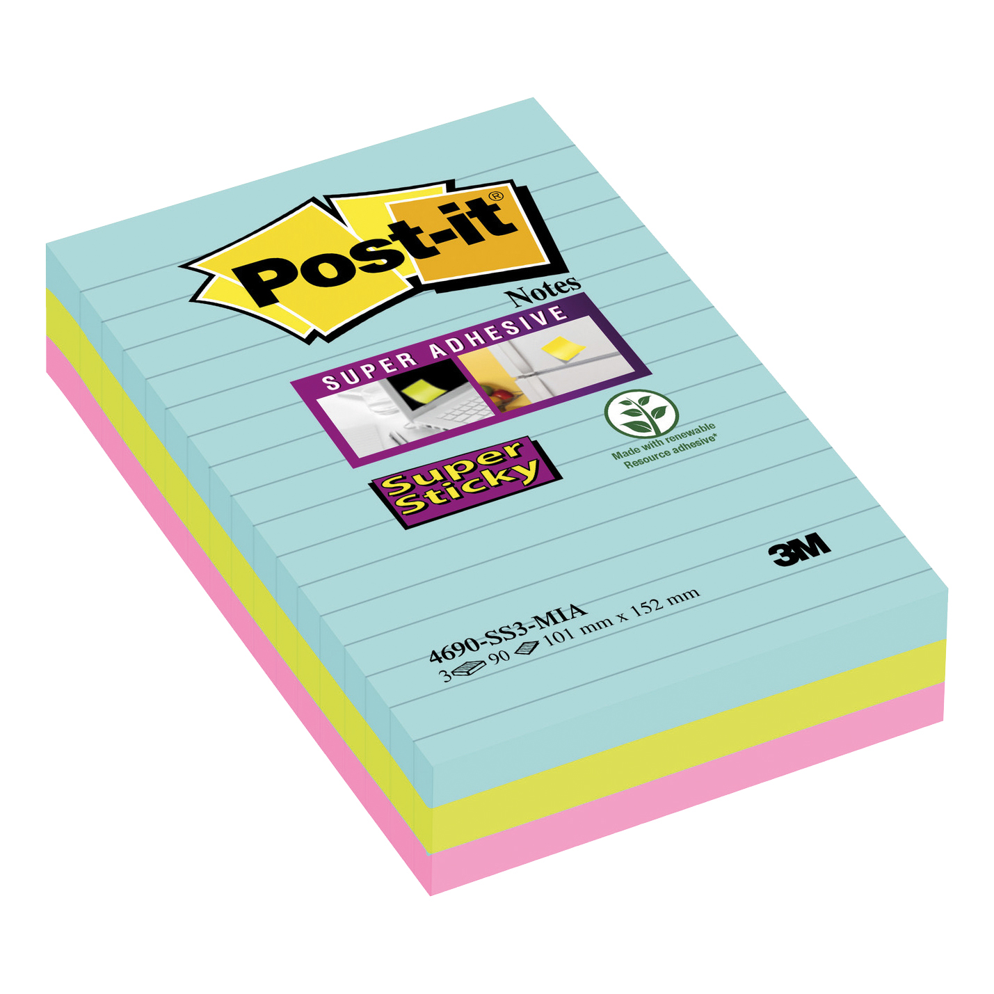 Post-It Super Sticky Notes Miami Ruled 90 Sheets 101x152mm Aqua Neon Green Pink Ref 4690-SS3MIA [Pack 3]