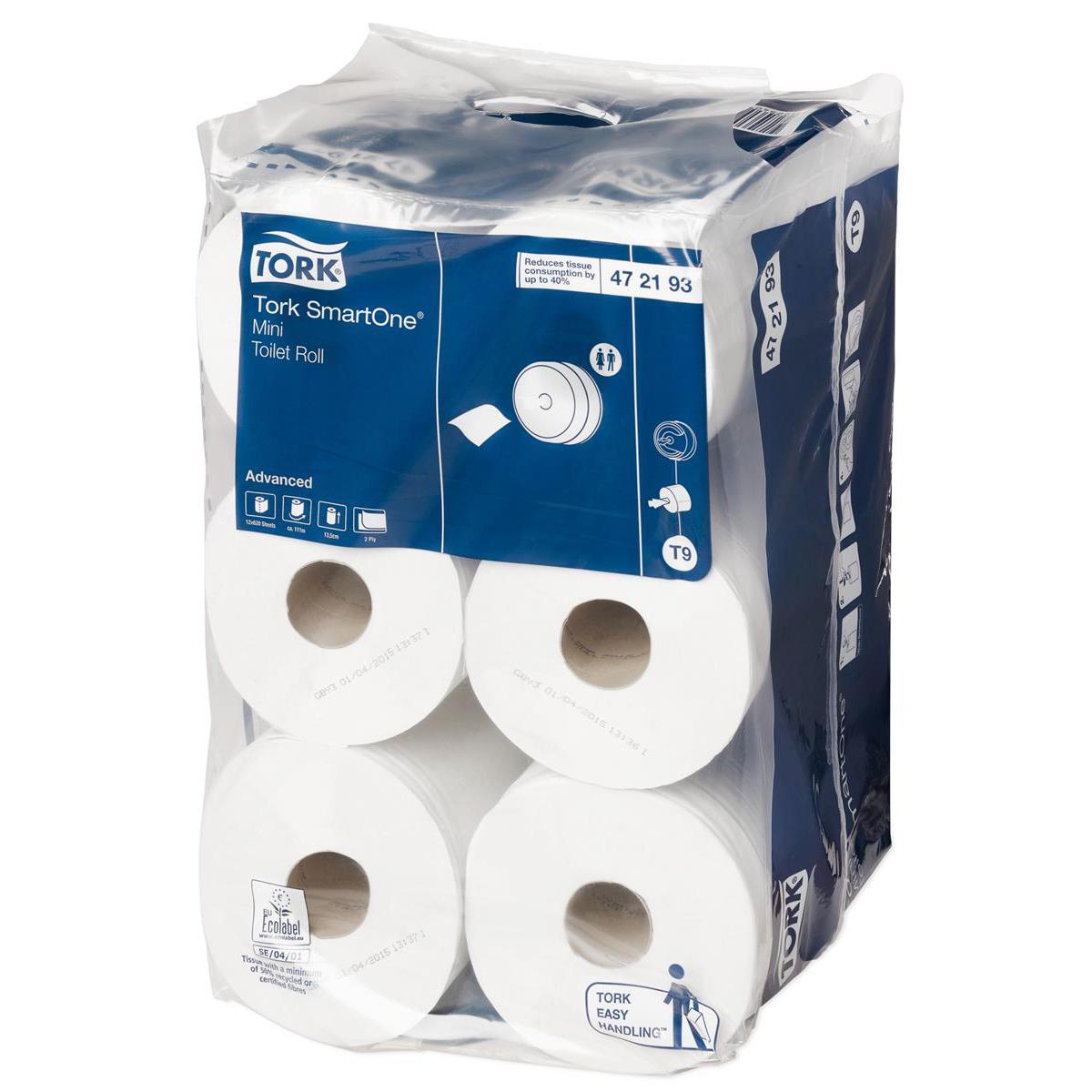 Tork Toilet Roll SmartOne Mini 2-ply 134x180mm 620 Sheets White Ref 472193 [Pack 12]