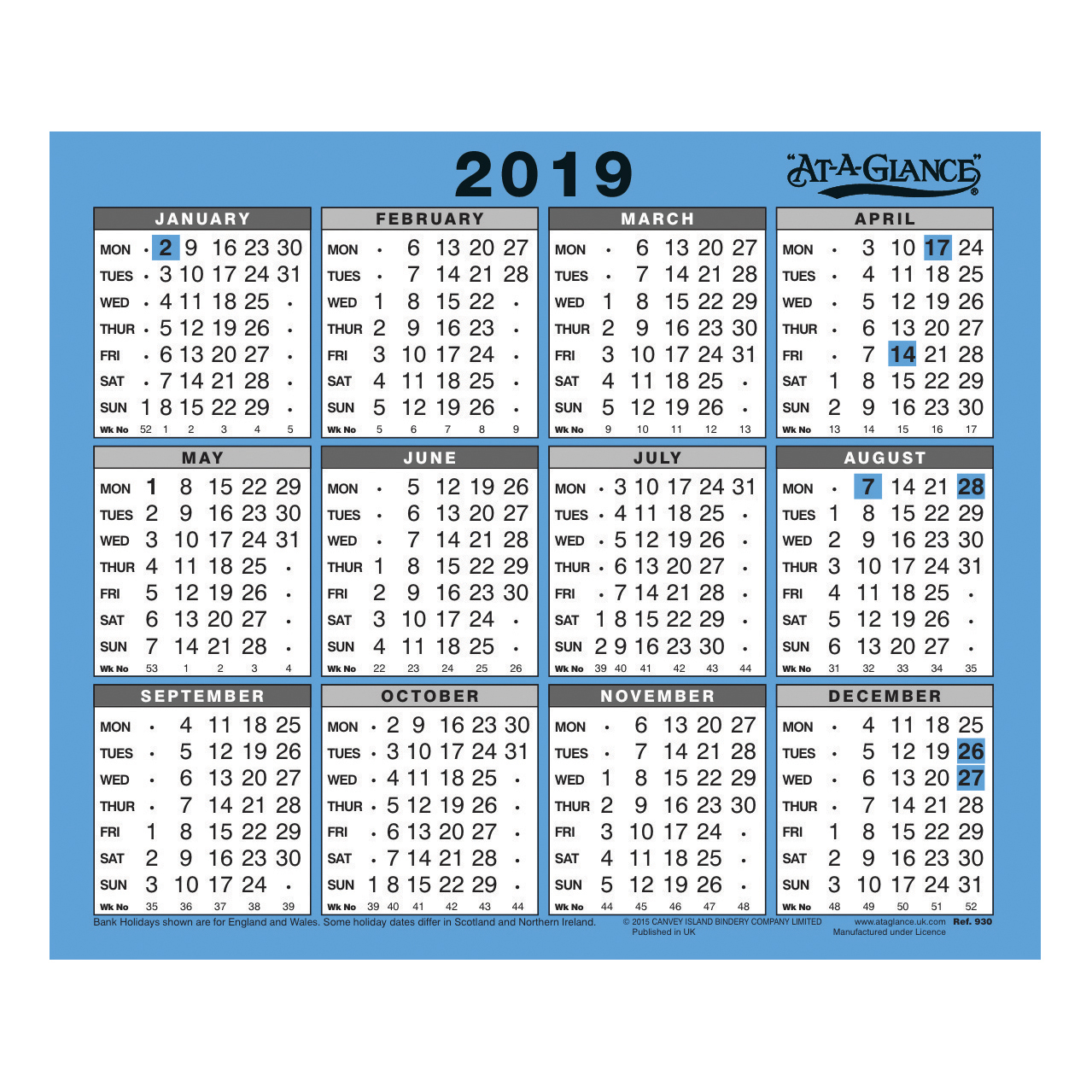 At-A-Glance 2019 Wall/Desk Calendar Year to View Gloss Board Binding 254x210mm White/Blue Ref 930 2019