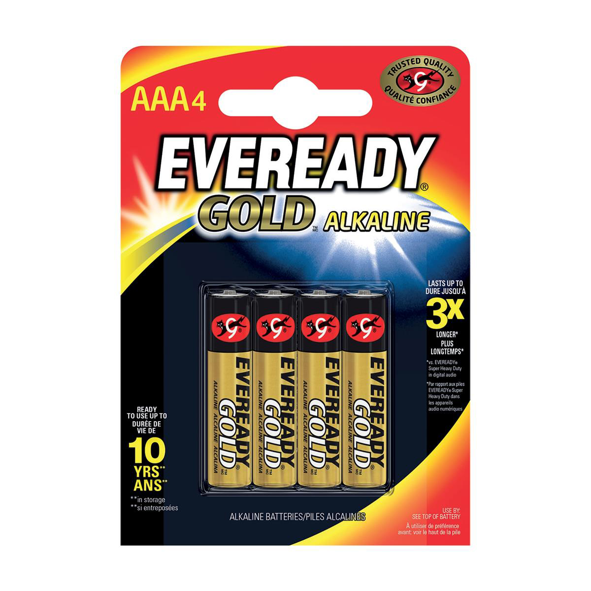 Image for Eveready Gold Alkaline Batteries AAA/LR03 Ref 636034 [Pack 4]