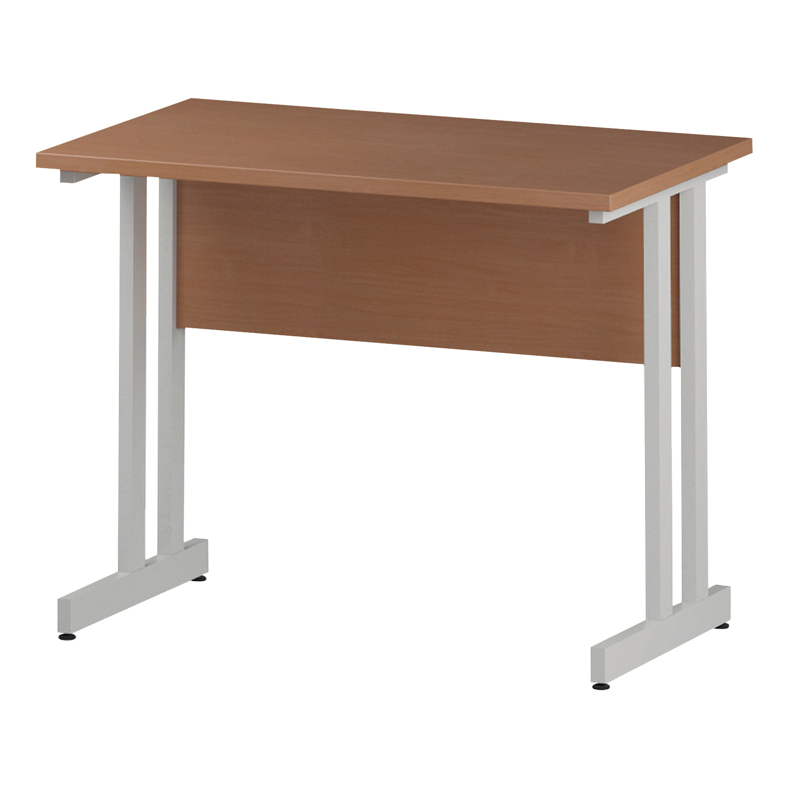 Trexus Rectangular Slim Desk White Cantilever Leg 1000x600mm Beech Ref I001683