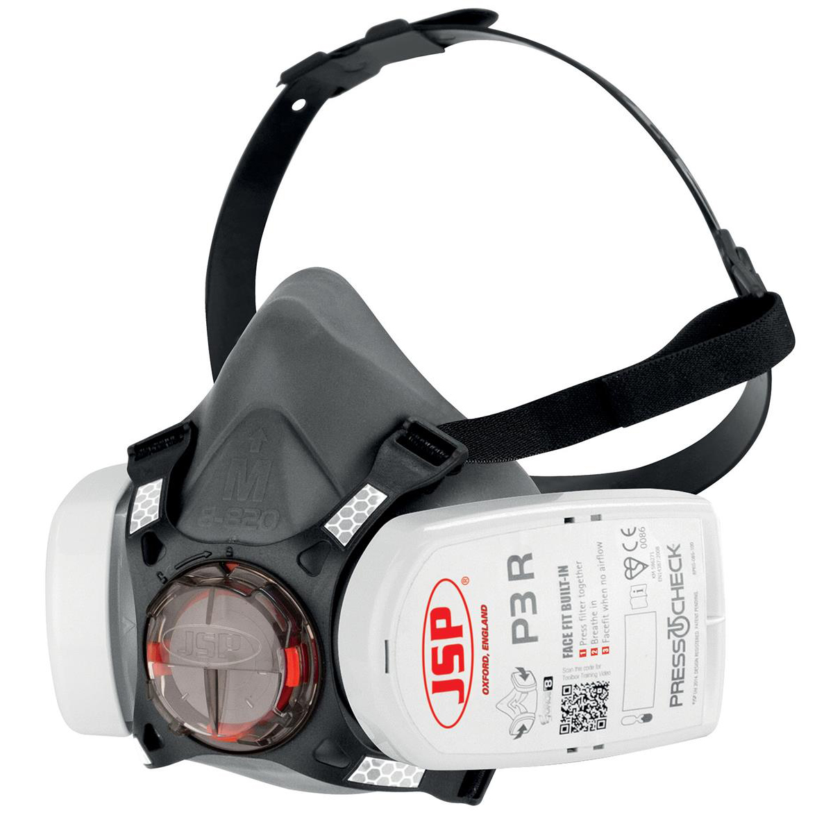 JSP Force8 Half Mask Complete With PressToCheck P3 Twin filter Cartridges Ref BHT0A3-0L5-N00