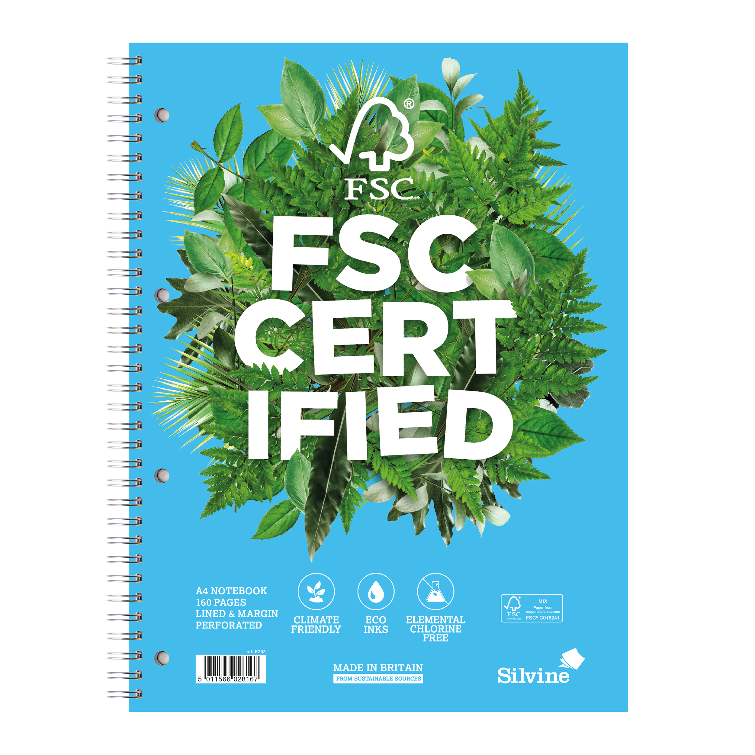 Silvine FSC Premium Nbk Wirebnd 75gsm Ruled Margin Perforated Punched 4 Holes 160pp A4 Ref R202 [Pack 5]