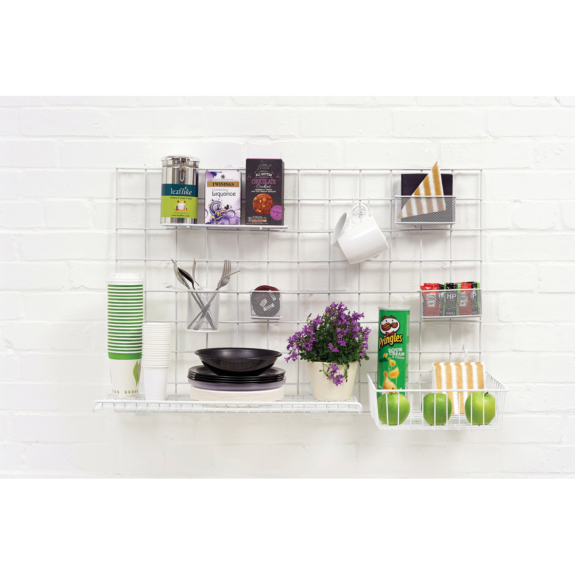 Image for Wall-Store Frame Multifunctional with Hooks and Trays 2 Shelves 600x1000mm Ref SE2022