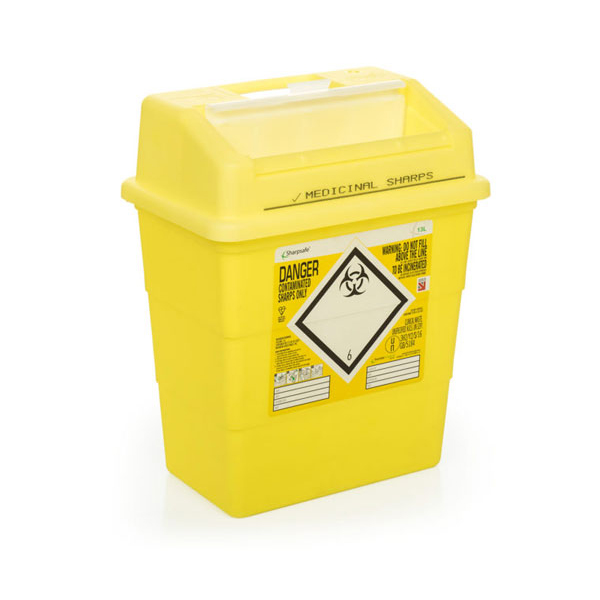 Click Medical Sharps Bin Temporary & Final Closure Feature 13L Yellow Ref CM0647 *Up to 3 Day Leadtime*
