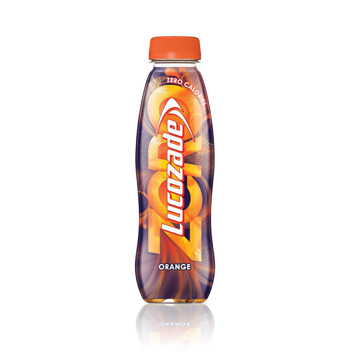 Lucozade Zero Orange Low Calorie Soft Drink Bottle Plastic 380ml Ref 96716 [Pack 24]