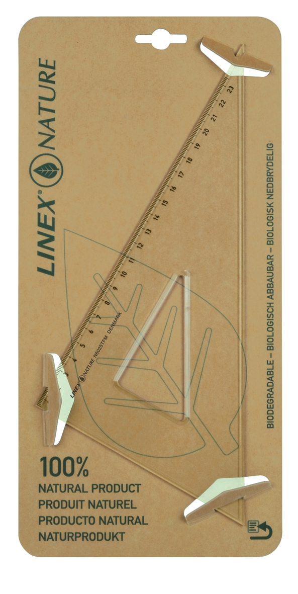 Linex Nature Set Square 60 Degree Metric Biodegradable Bevelled And Tracing Edges Clear LXON6025TFM
