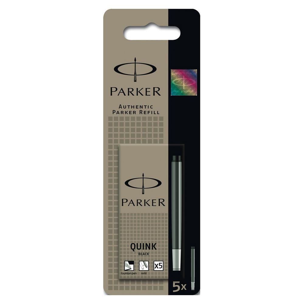 Parker Quink Cartridge Ink Refills Pack 5 Black Washable
