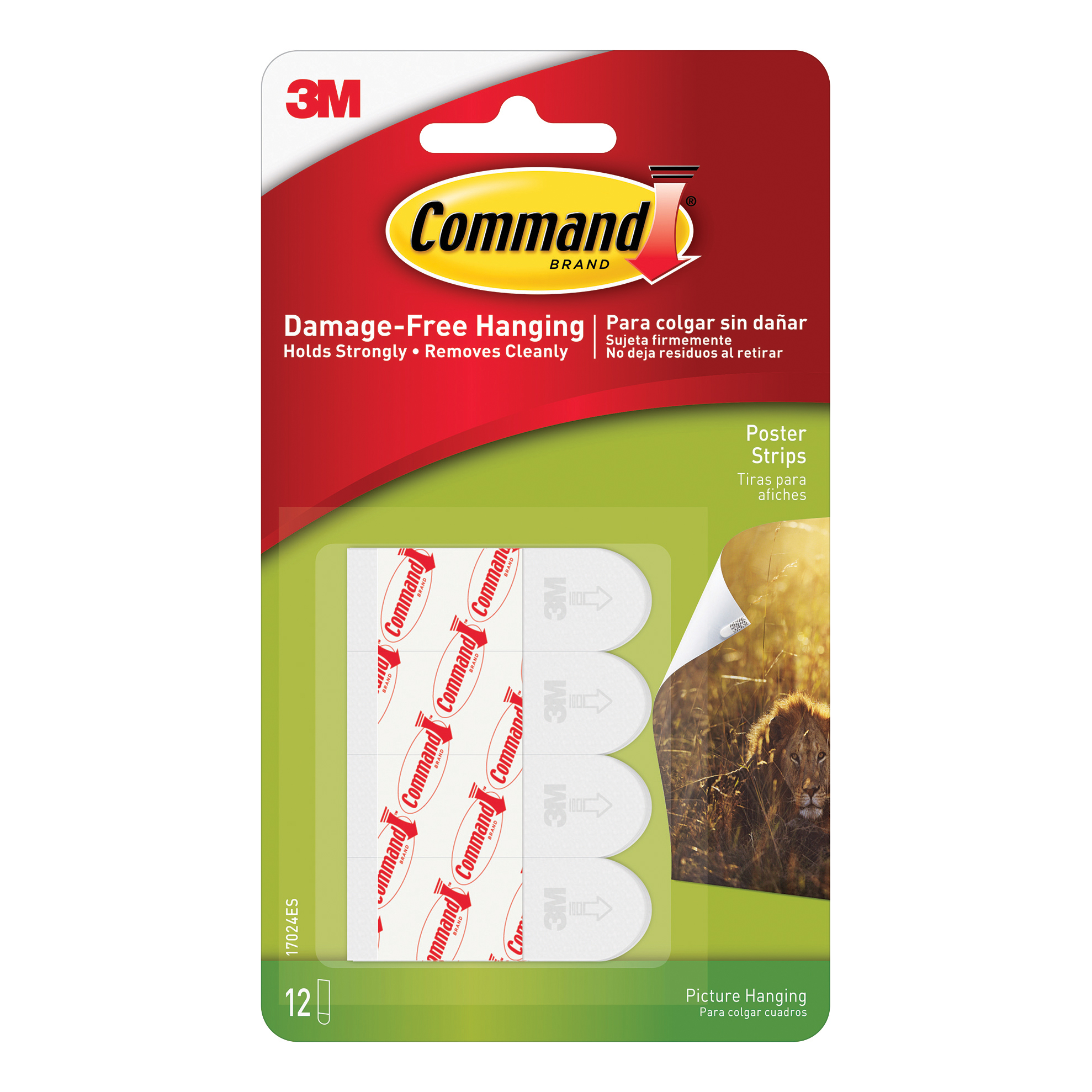 Image for 3M Command Adhesive Poster Strips Clean-removing Holding Capacity 0.45kg Ref 17024 [Pack 12] (0)