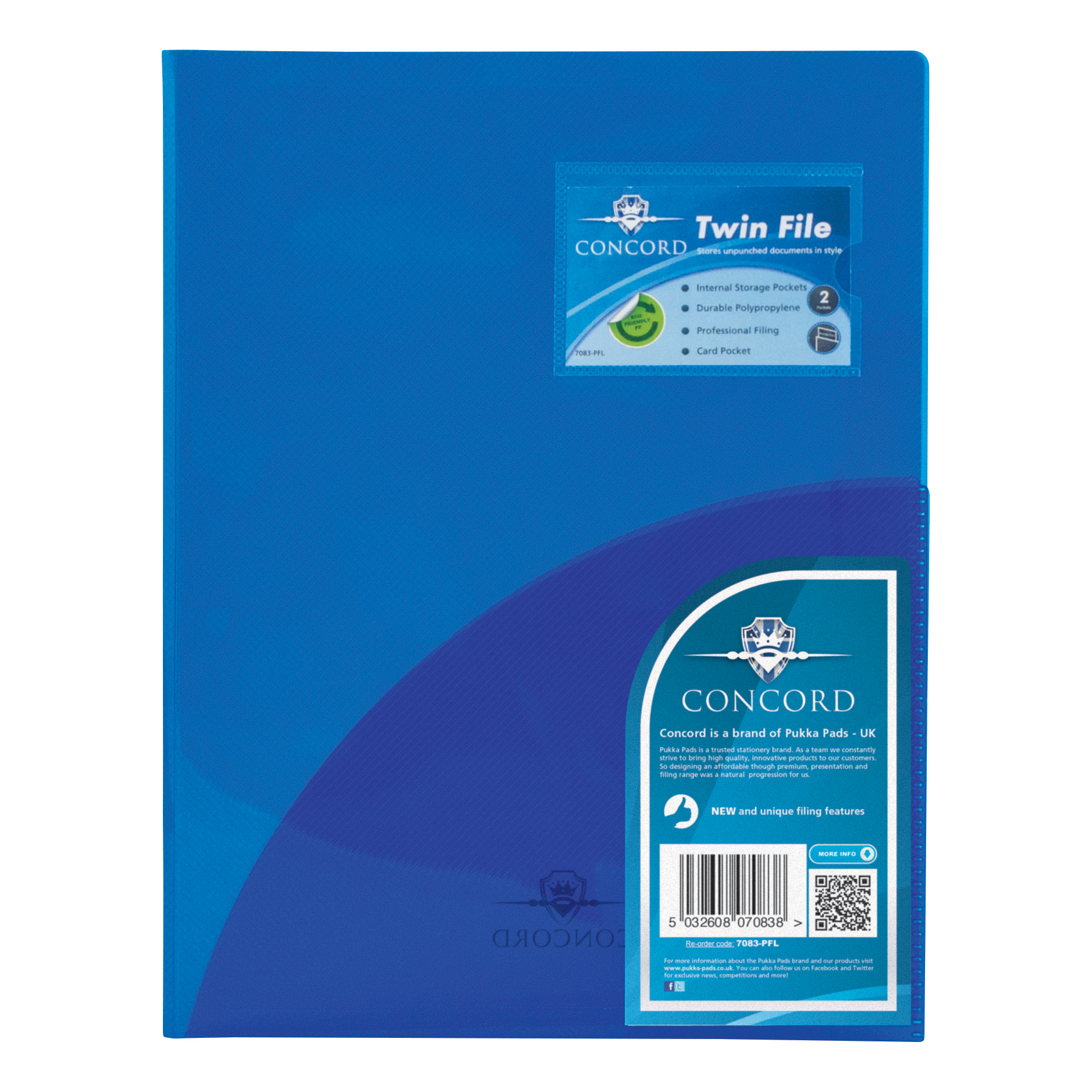 Concord Twinfile Presentation Folder Polypropylene A4 Blue Ref 7083-PFL [Pack 5]