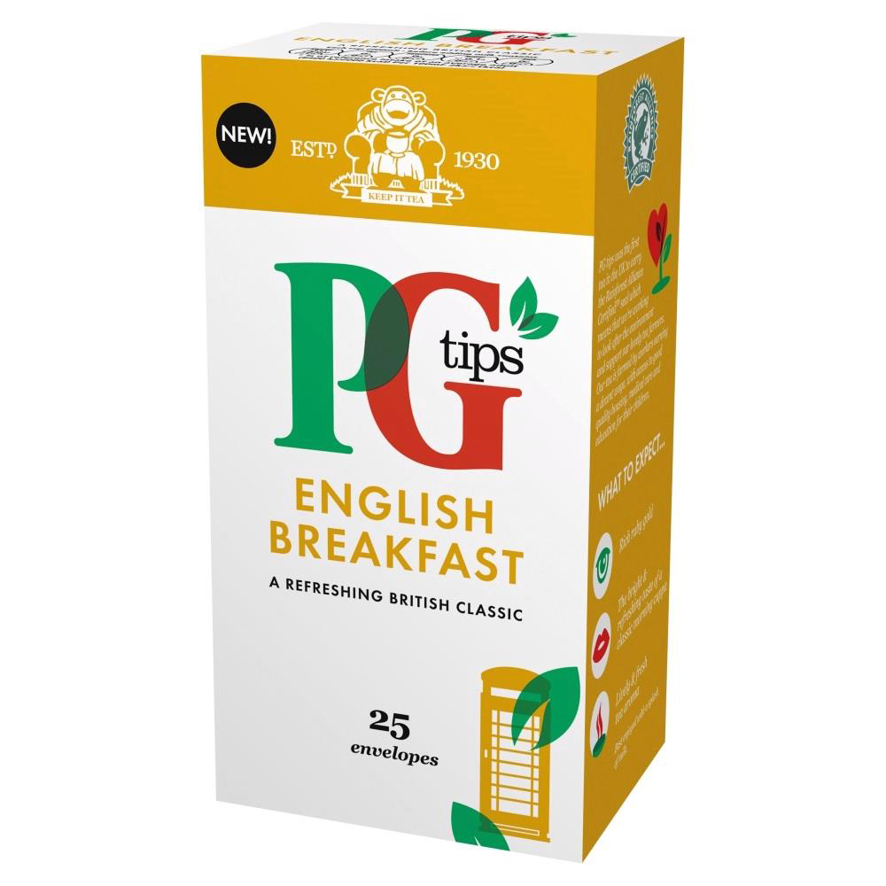 PG Tips Tea Bags English Breakfast Enveloped Ref A07999 [Pack 25]