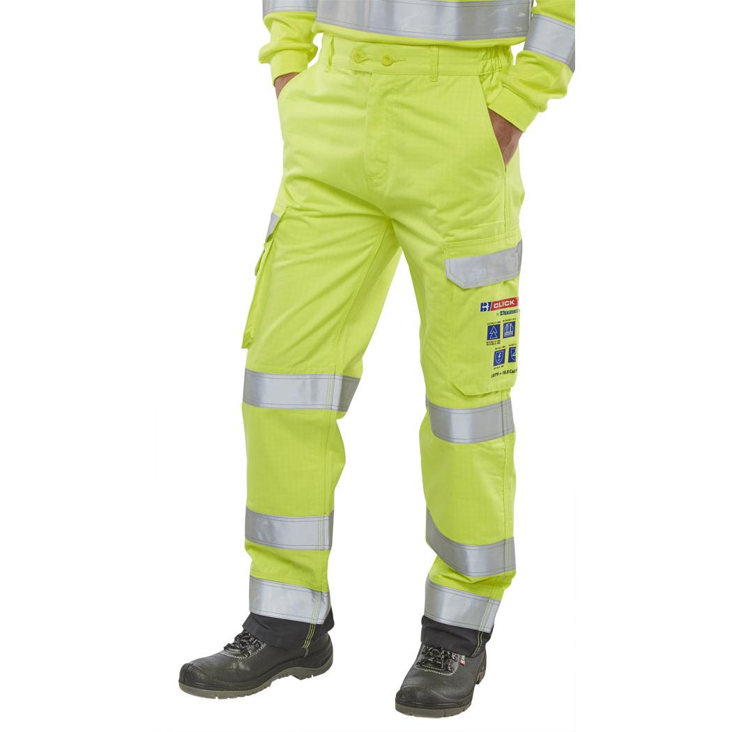 f69f3b2b87b7 Click Arc Flash Trousers Fire Retardant Hi-Vis Yellow Navy 40 Ref  CARC5SYN40  Up to 3 Day Leadtime