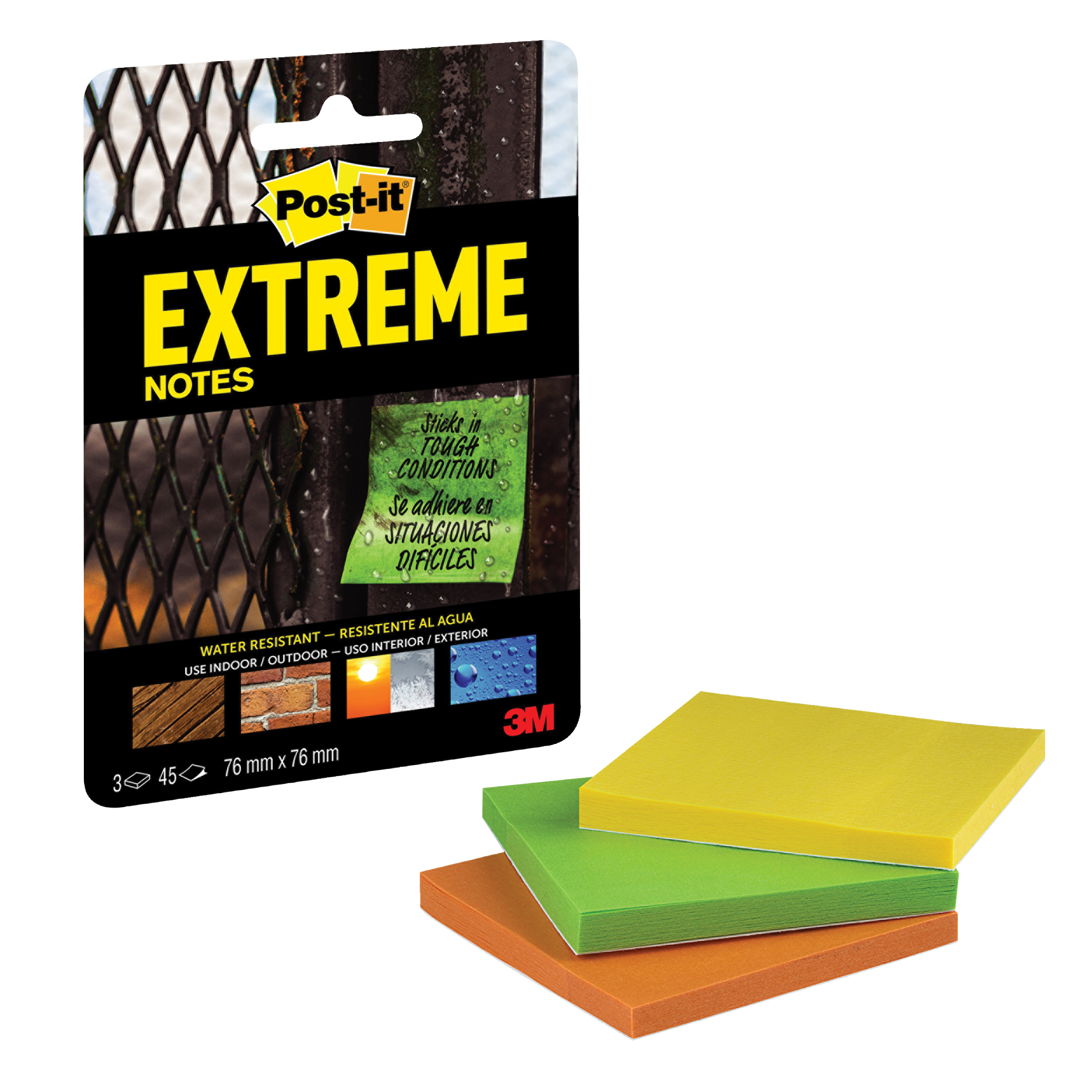 Post-it Extreme Notes 76x76mm Assorted 3 Colours Ref EXT33M-3-UKSP Packs of 3 Pads x 45 Sheets