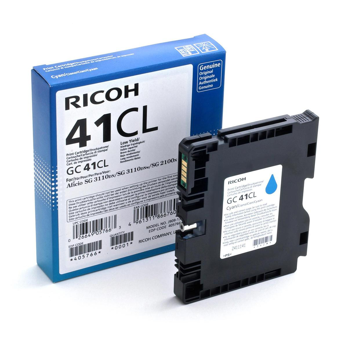 Ricoh Gel Inkjet Cartridge Page Life 600pp Cyan Ref GC-41CL 405766