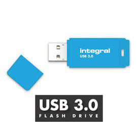 Integral Neon Flash Drive USB 3.0 Blue 128GB  Ref INFD128GBNEONB3.0