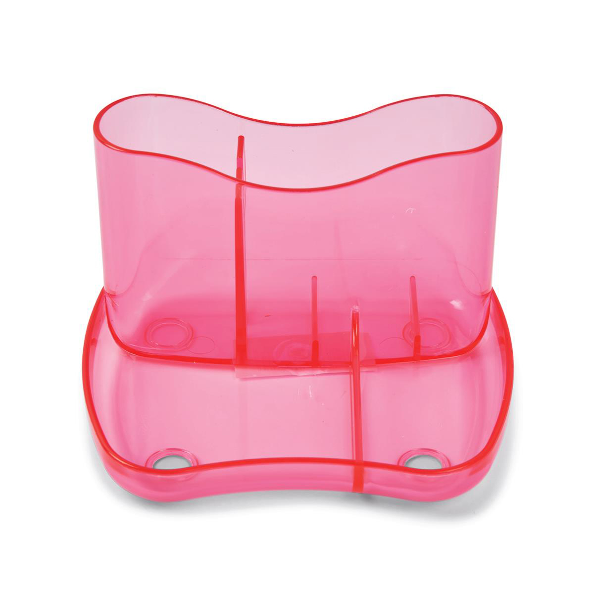 Desk Organiser 4 Compartments 93mm High Ice Pink