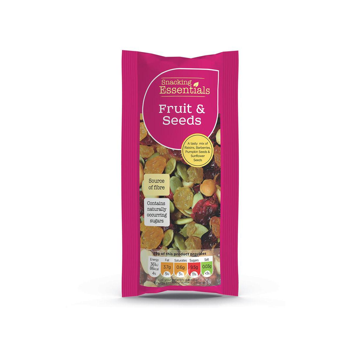 Snacking Essentials Fruit & Seeds Shots 50g Ref 808252 [Pack 16]
