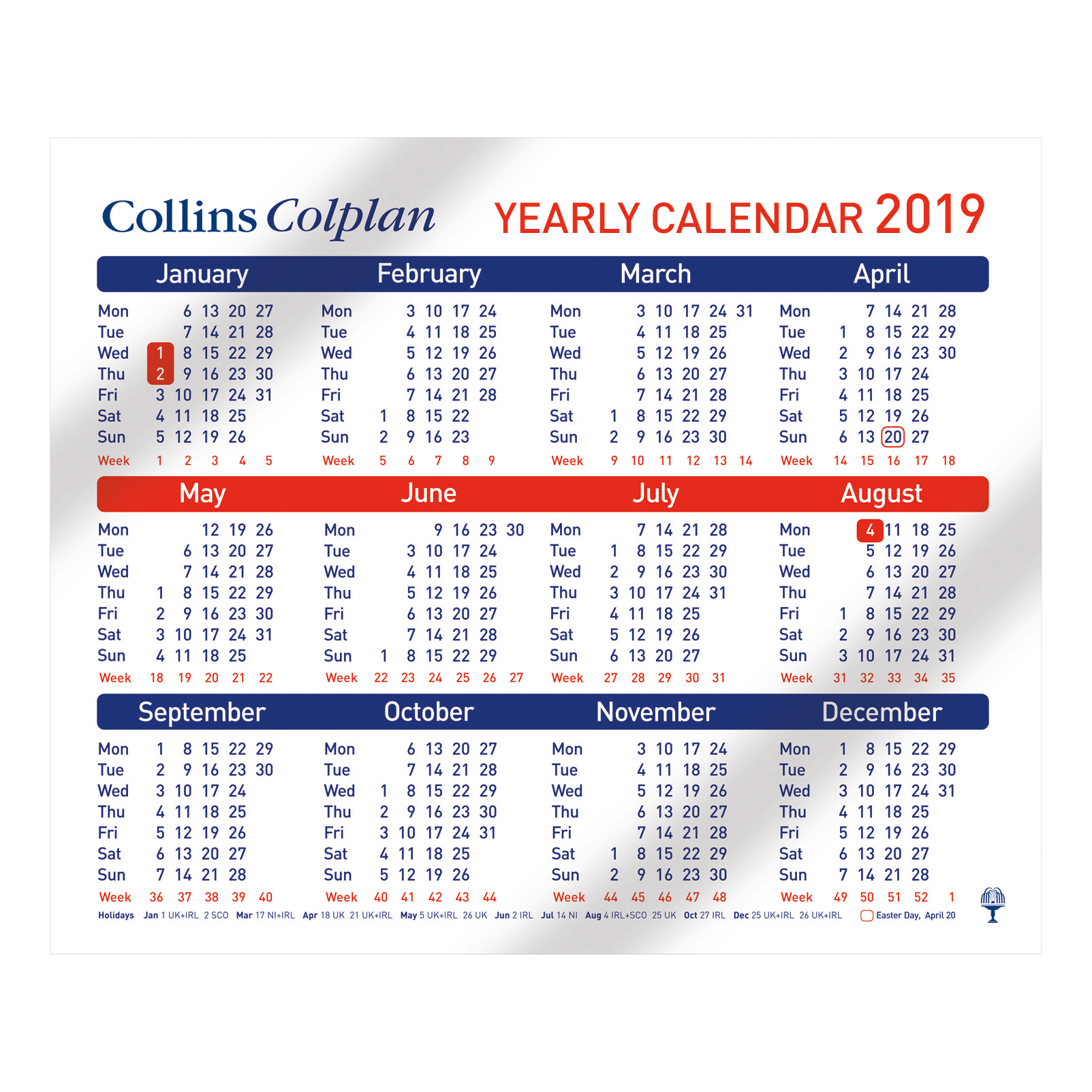 Collins 2019 Yearly Calendar for Wall or Desktop Landscape 210x260mm White Ref CDS1 2019