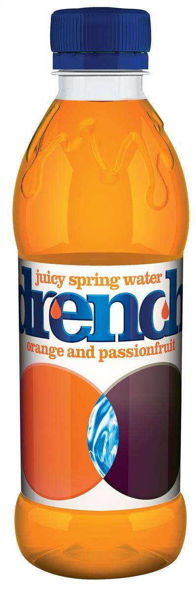 Drench Juicy Orange and Passion Fruit Spring Water Bottles 440ml (Pack of 24) 402050