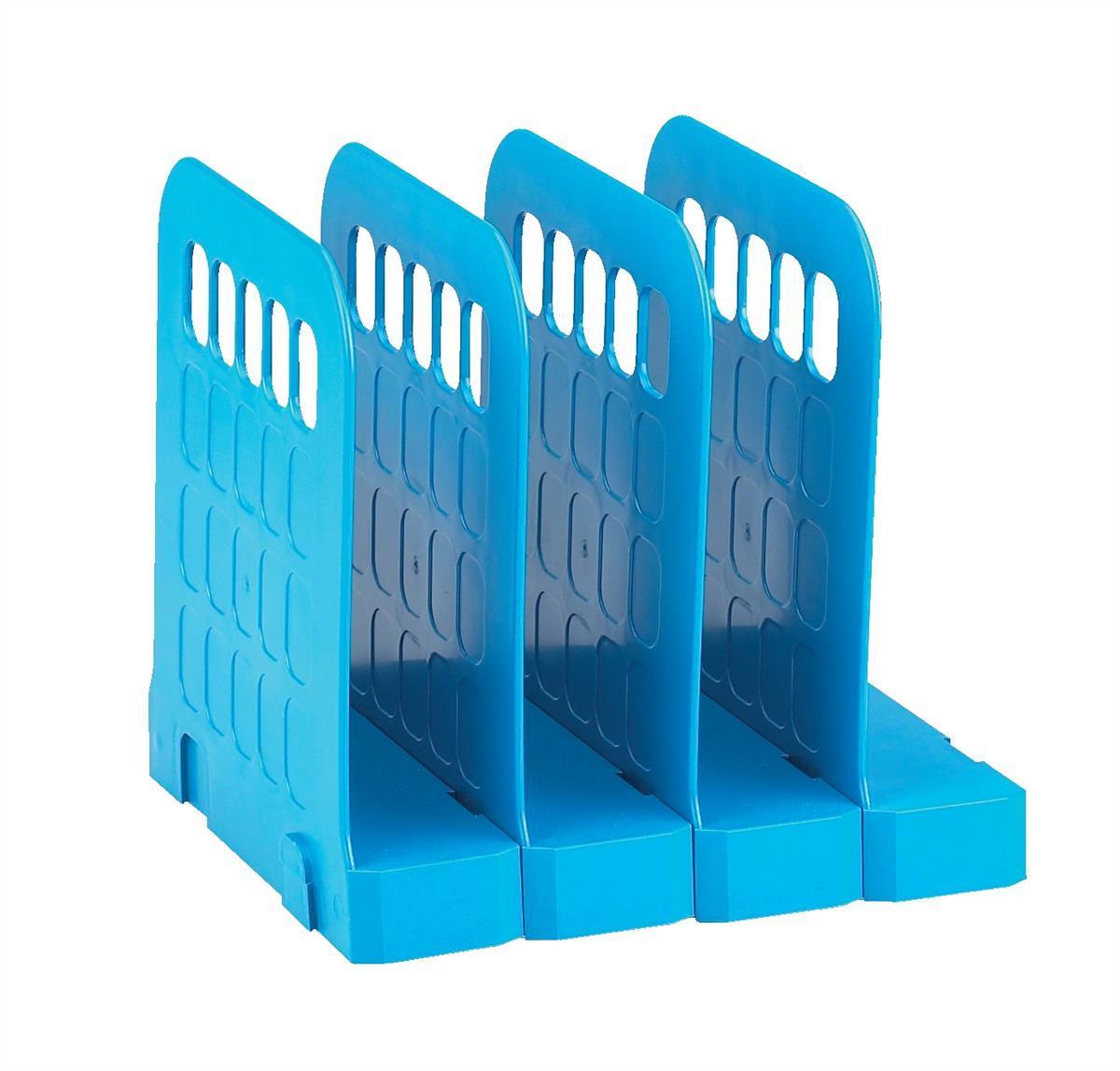 Avery Basics Book Rack Modular Interlocking Base 4 Sections 200x183x190mm Blue Code 1136BLUE