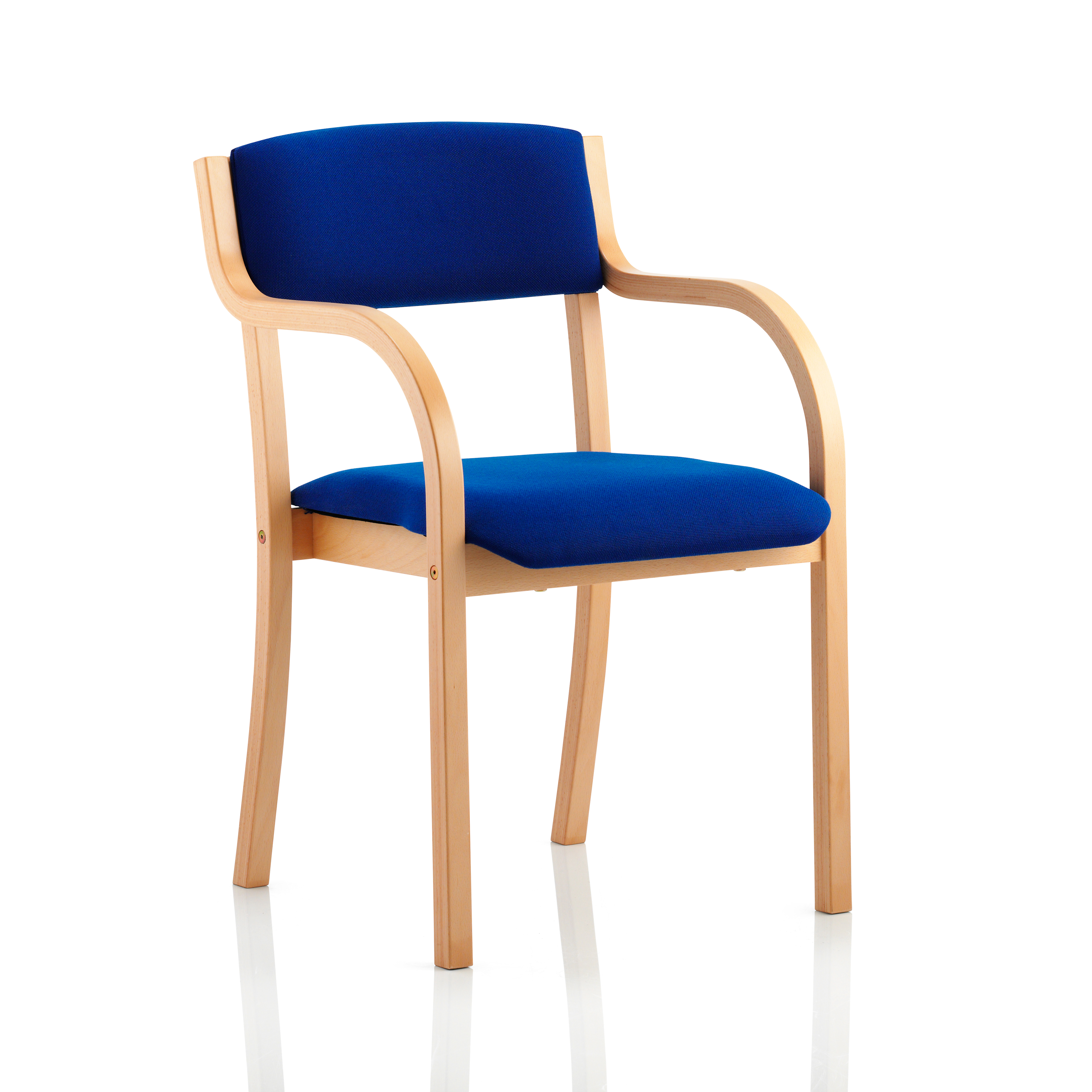 Trexus Wood Frame Conference Chair With Arms Blue 450x490x450mm Ref BR000085