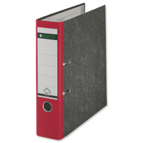 Leitz Paper On Board Lever Arch Files 80mm Spine Foolscap Red Code 10821025