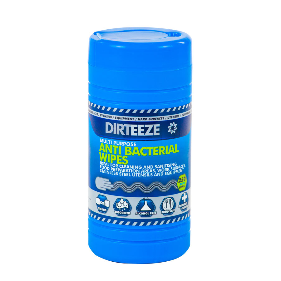 Dirteeze Anti-bacterial Wipes Jumbo Tub Blue Ref DZAB250 [250 Wipes] *Up to 3 Day Leadtime*