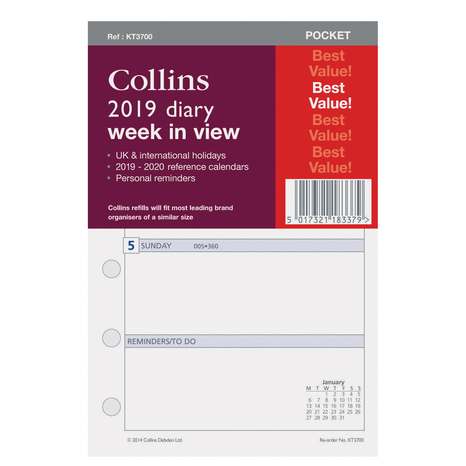 Collins 2019 Pocket Organiser Diary Refill Week to View 80x120mm White Ref KT3700-19