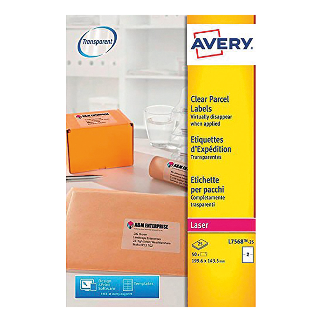 avery parcel labels laser 4 per sheet 139x99 1mm transparent ref